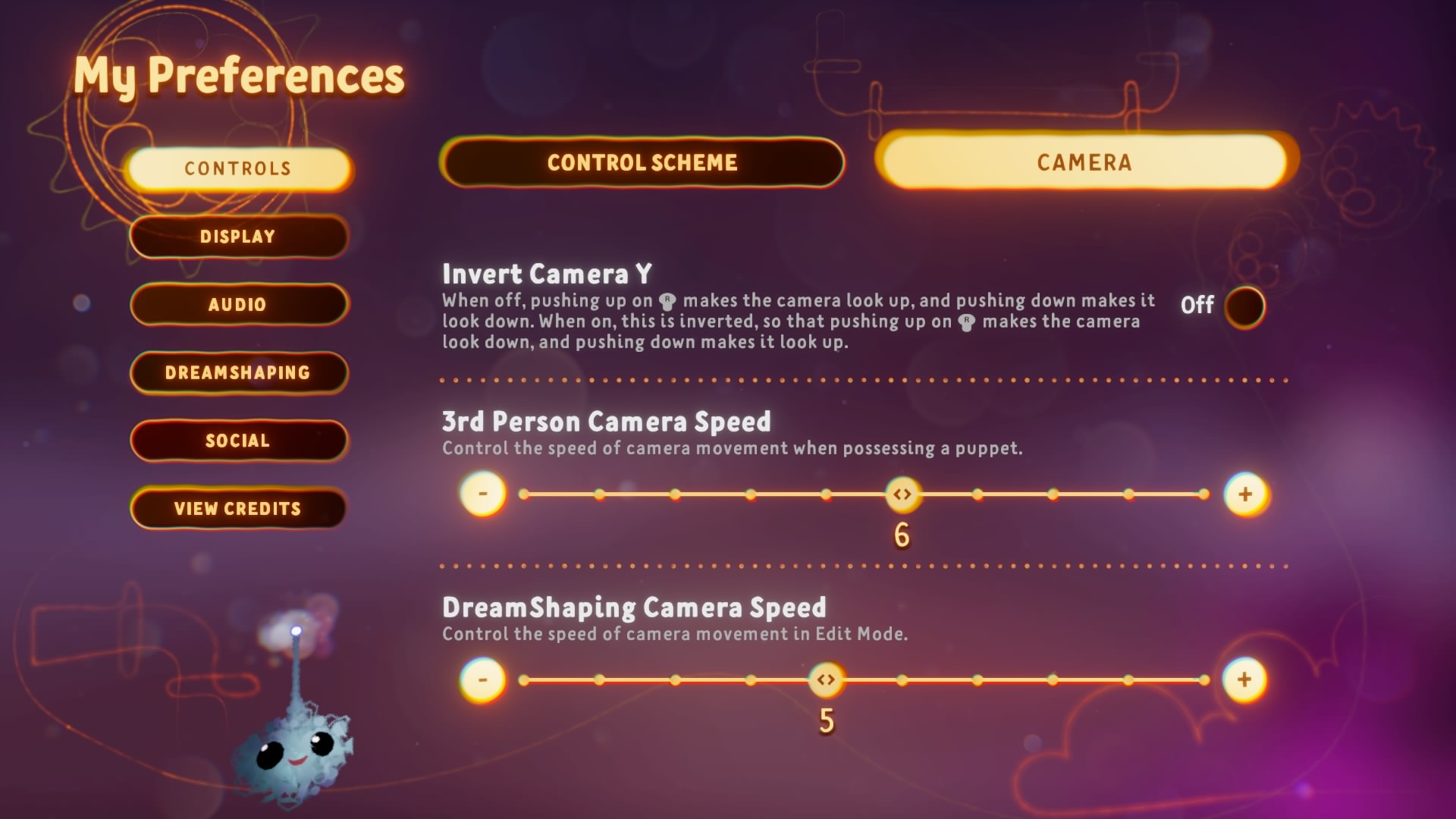 Screenshot showing Camera Options in the Preferences Menu