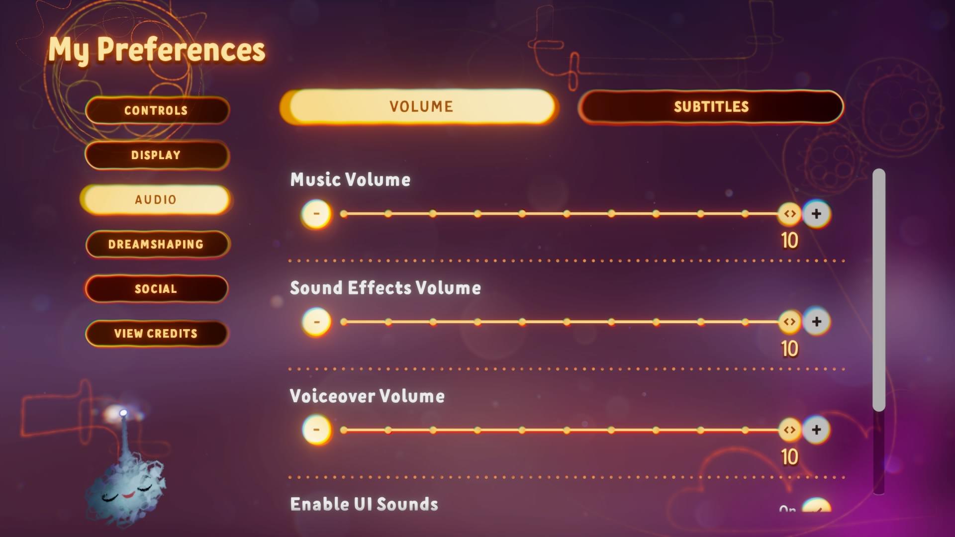 Screenshot showing Volume Sliders in the Preferences Menu