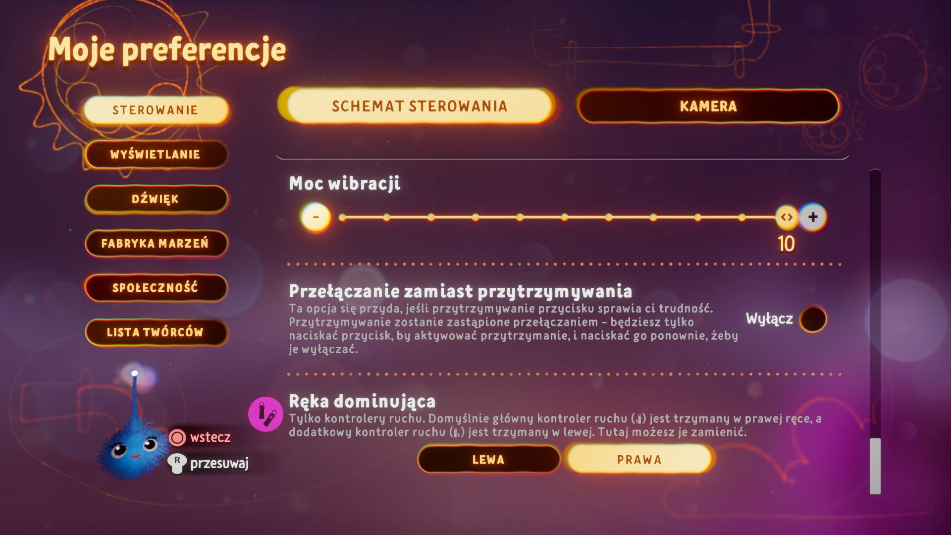 Zrzut ekranu przedstawiający opcję przełączania w menu preferencji