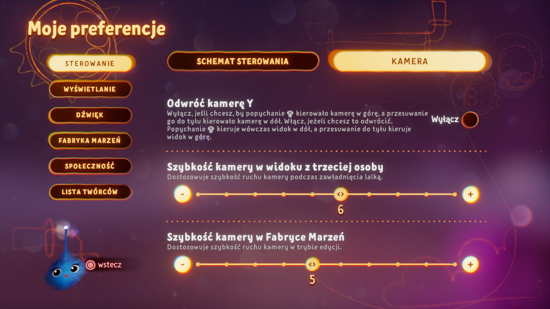 Zrzut ekranu przedstawiający opcje kamery w menu preferencji
