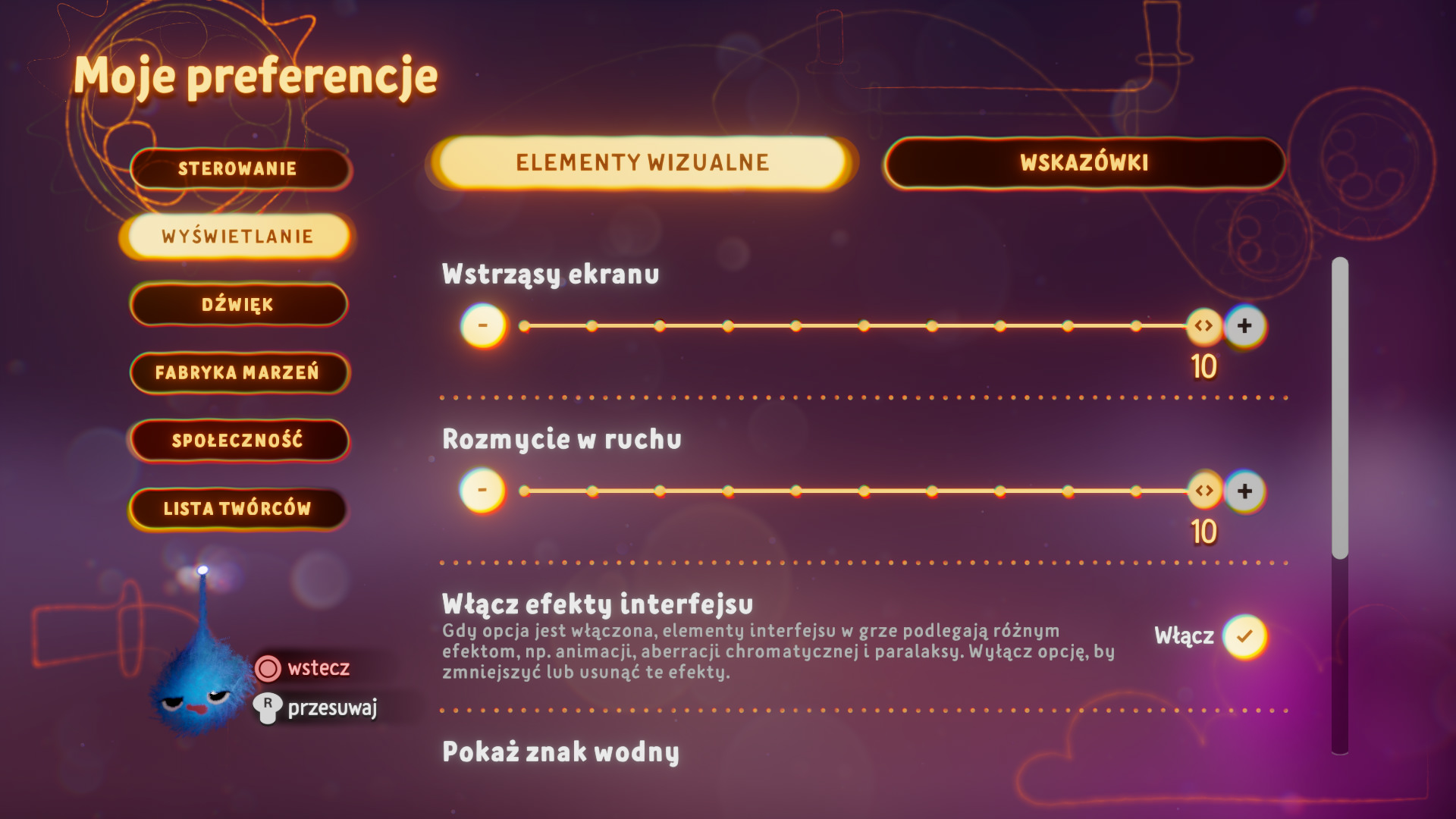 Zrzut ekranu przedstawiający opcje grafiki w menu preferencji