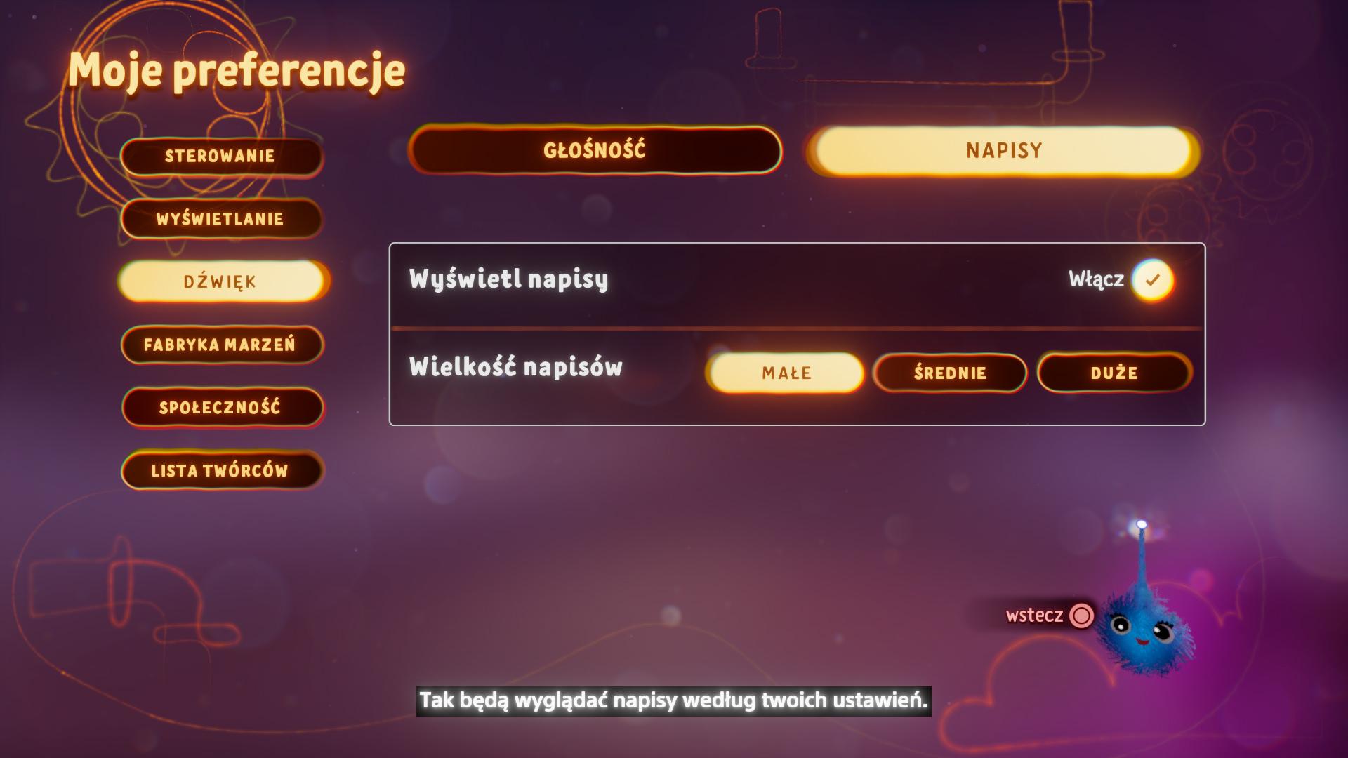 Zrzut ekranu przedstawiający opcje wielkości napisów w menu preferencji
