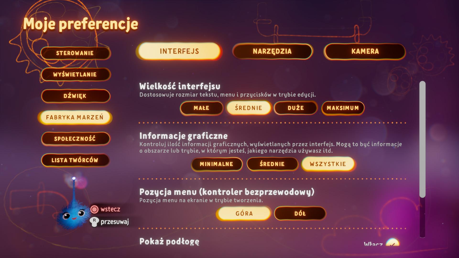 Zrzut ekranu przedstawiający opcje wielkości interfejsu w menu preferencji