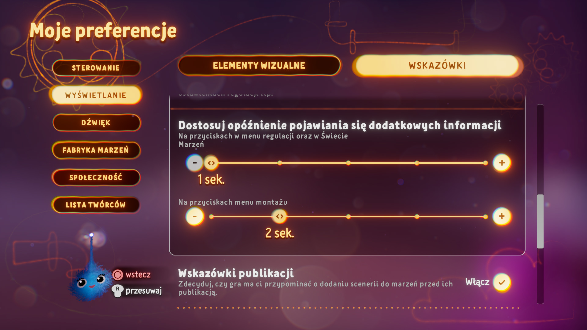 Zrzut ekranu przedstawiający opcje sugestii w menu preferencji