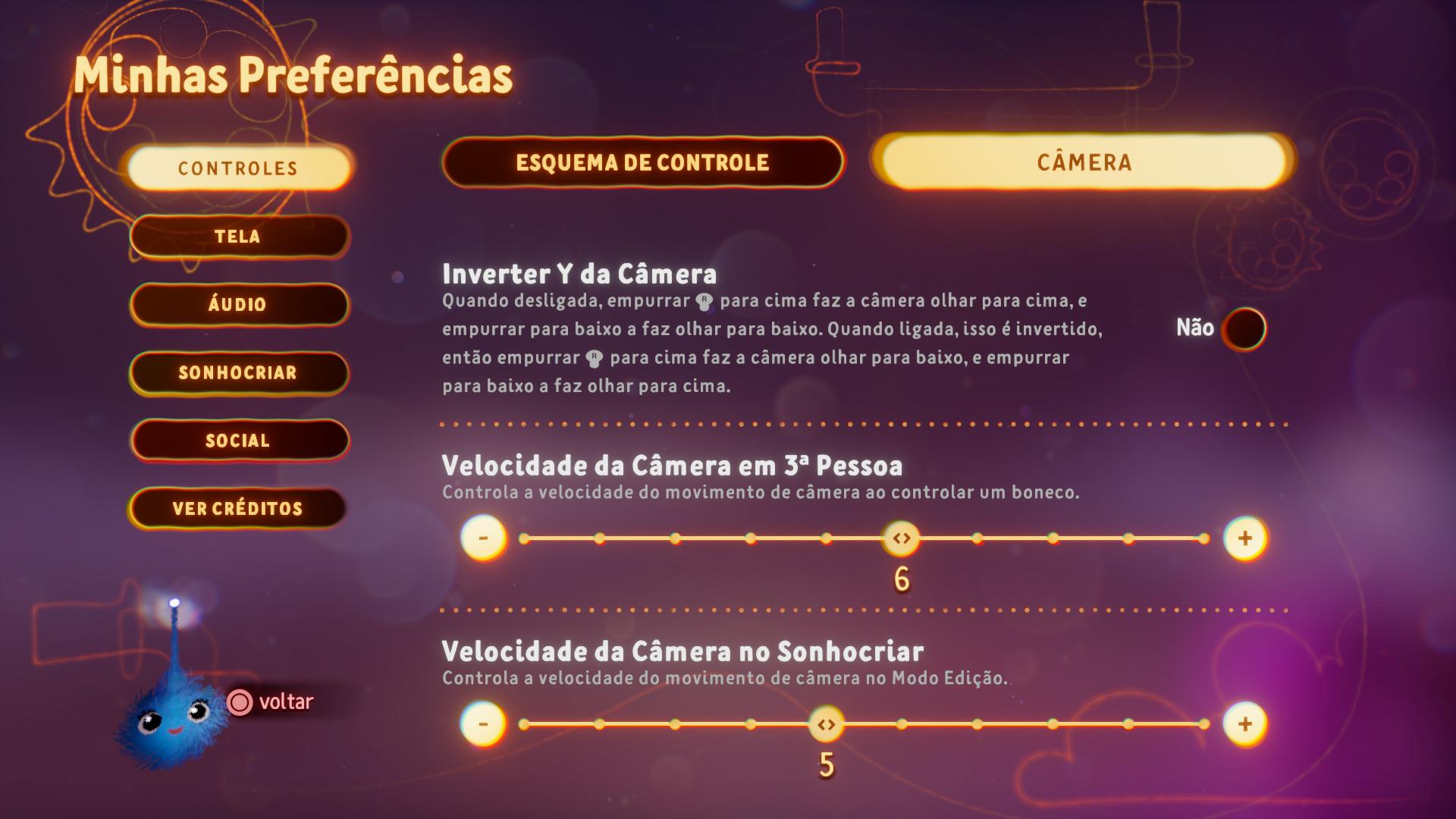 Captura de tela mostrando as Opções de Câmera no Menu Preferências