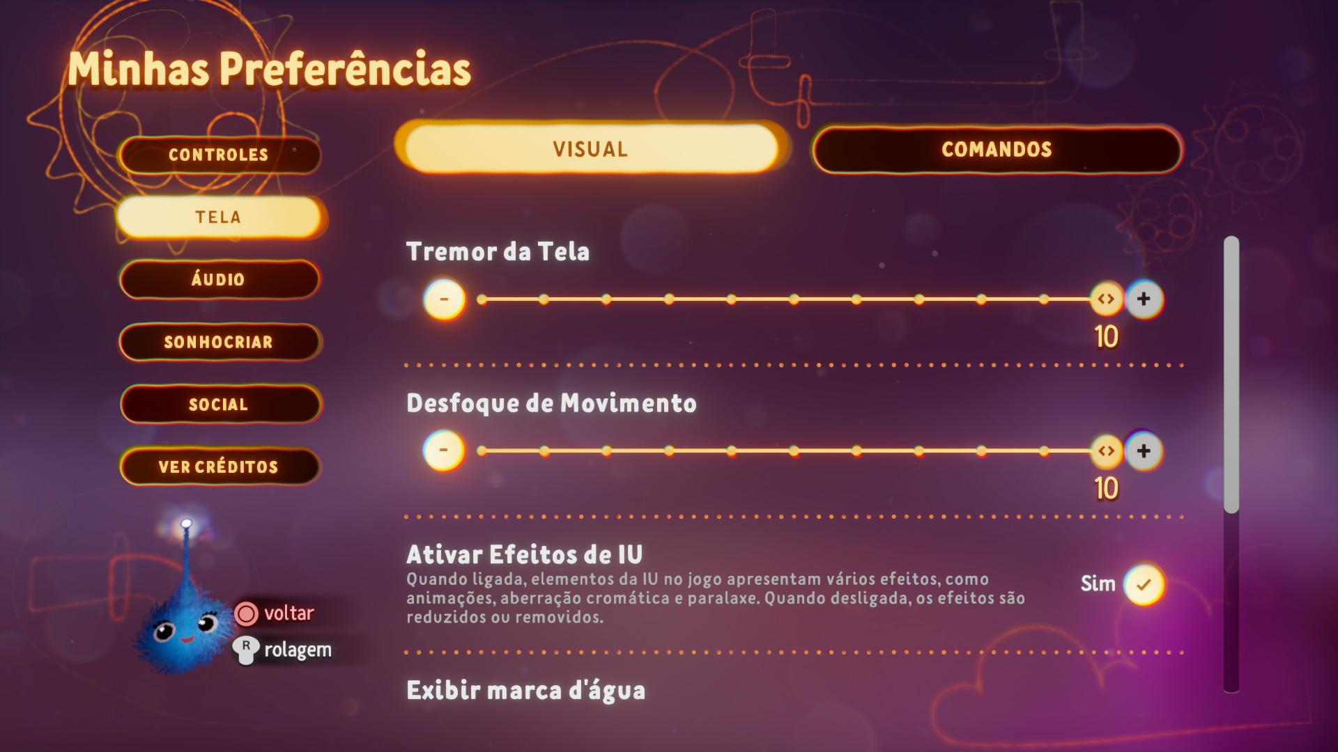Captura de tela mostrando as Opções Visuais no Menu Preferências