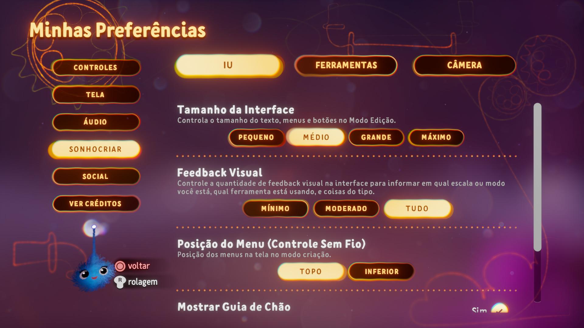 Captura de tela mostrando as Opções de Tamanho da IU no Menu Preferências