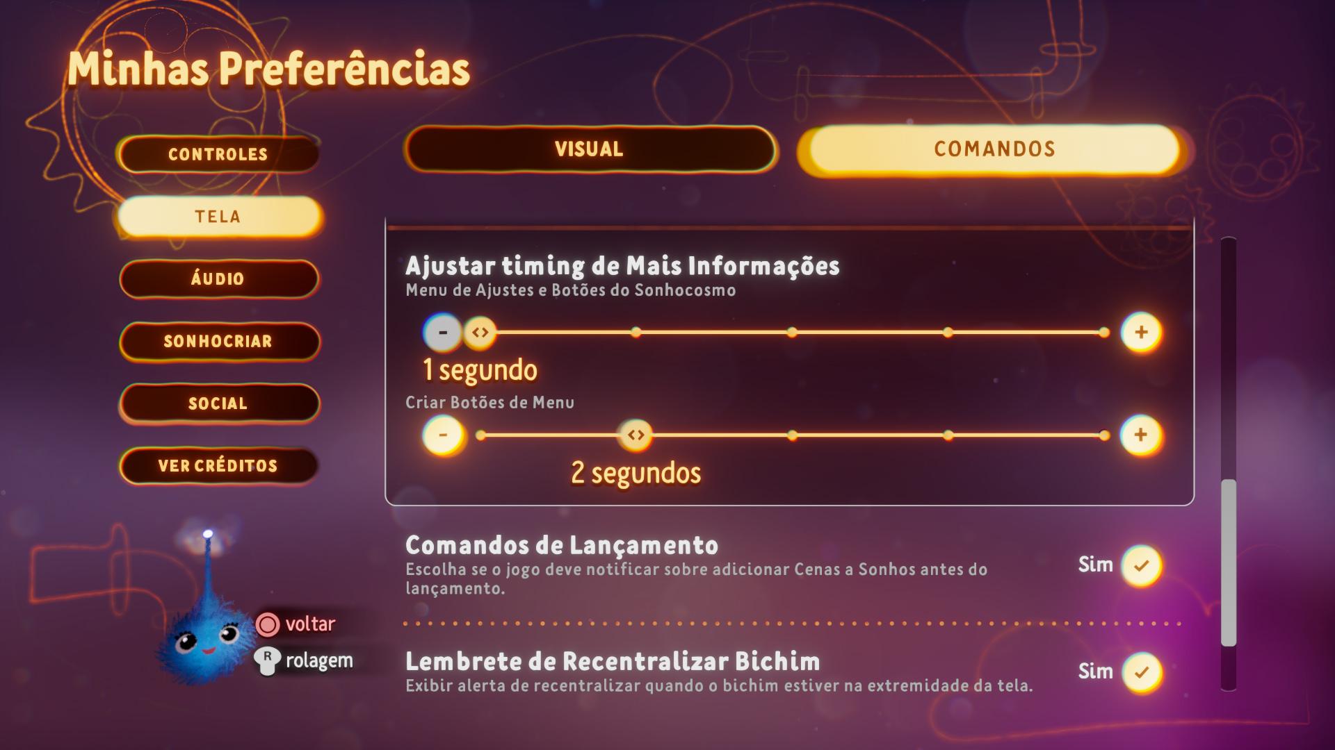 Captura de tela mostrando Opções de Comandos no Menu Preferências