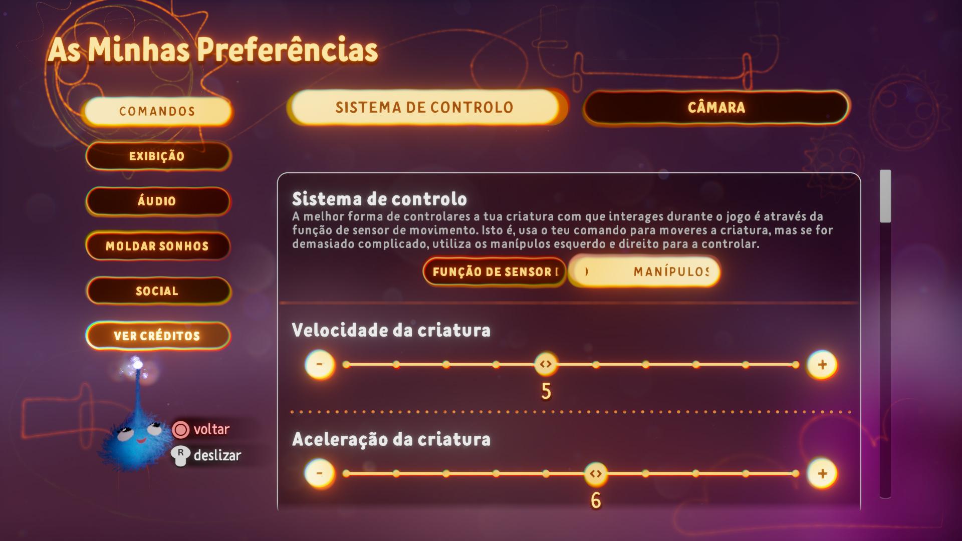Captura de ecrã a mostrar as opções de esquema de controlo no menu de Preferências