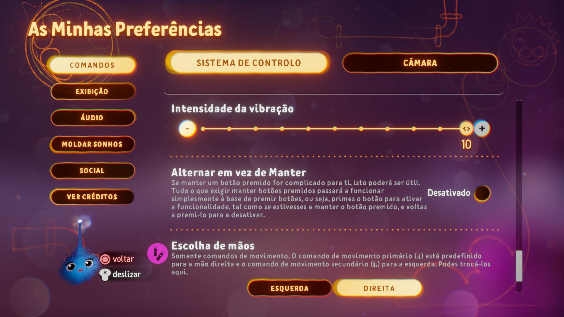 Captura de ecrã a mostrar as opções que podem ser ativadas ao premir botões no menu de Preferências