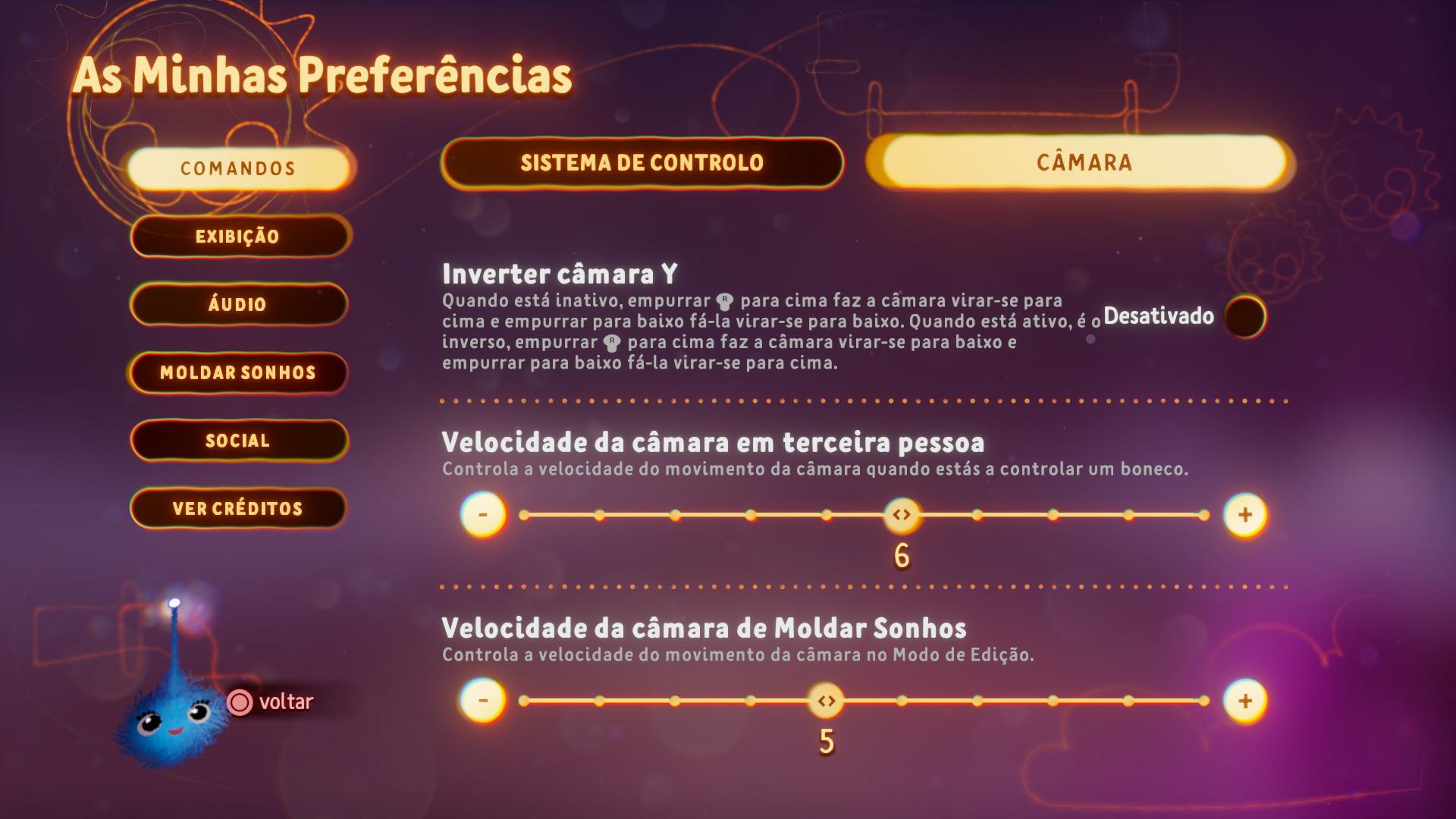 Captura de ecrã a mostrar as opções de câmara no menu de Preferências