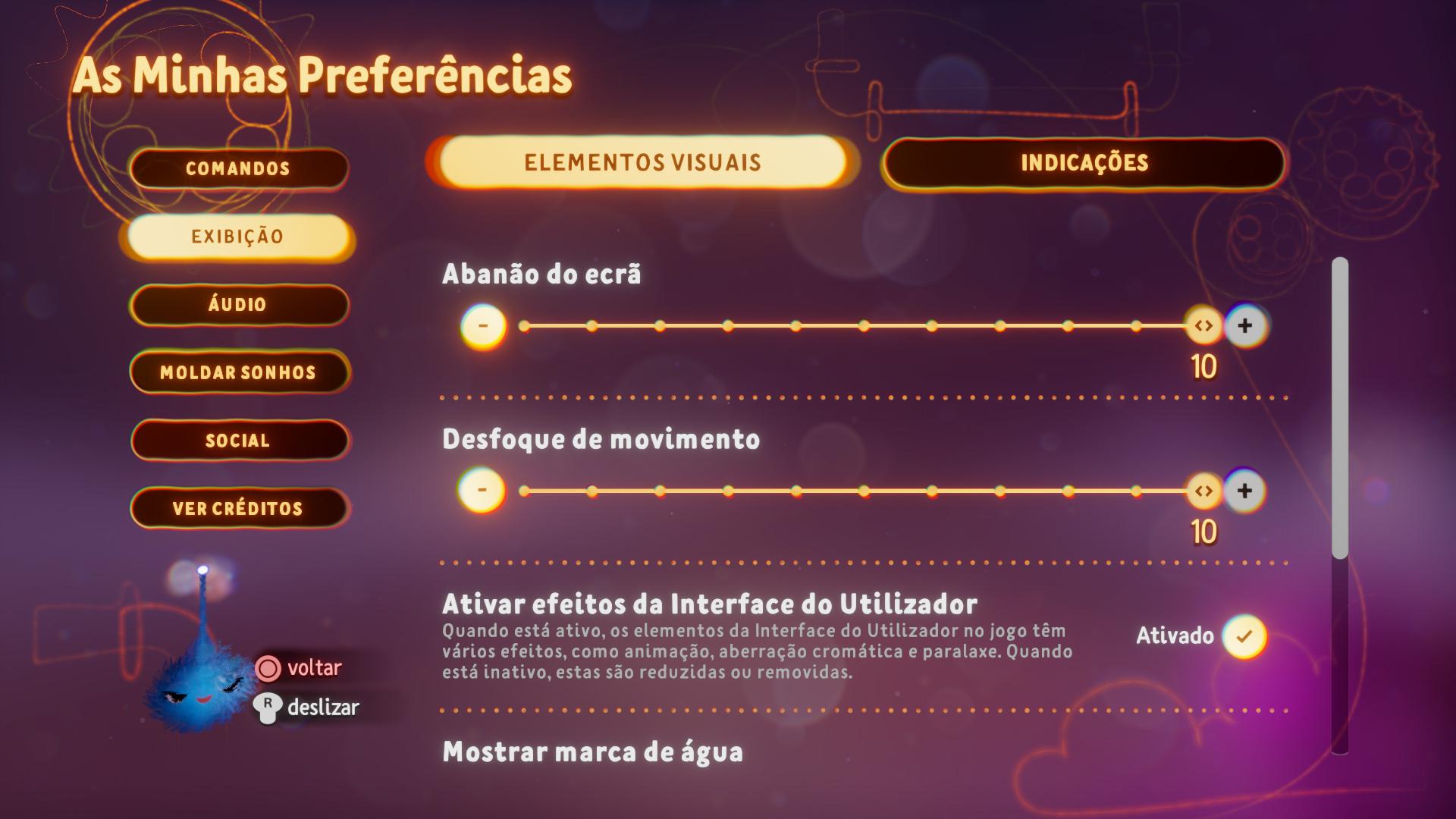 Captura de ecrã a mostrar as opções visuais no menu de Preferências