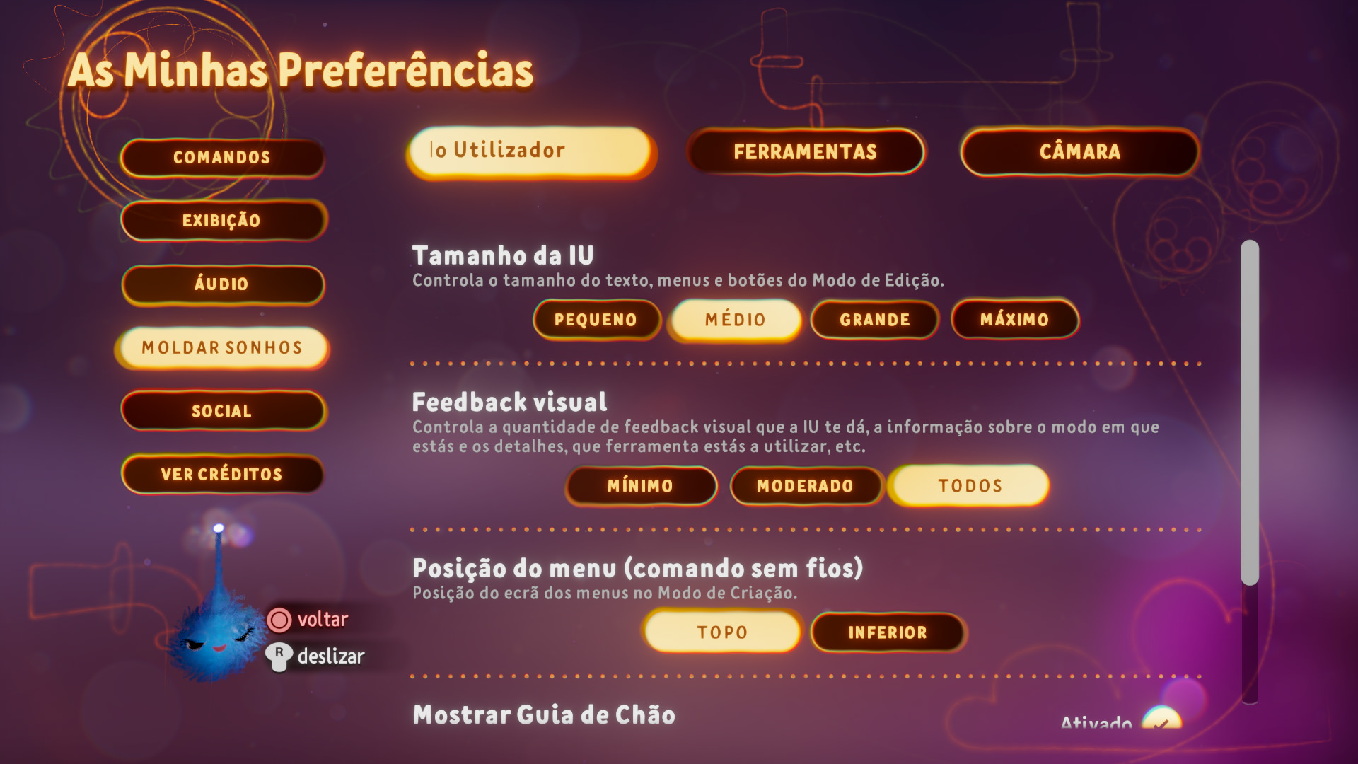 Captura de ecrã a mostrar opções de tamanho de IU no menu de Preferências