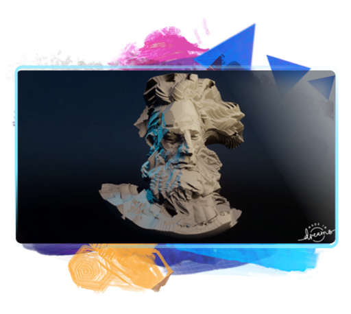 Uma escultura 3D feita no Dreams