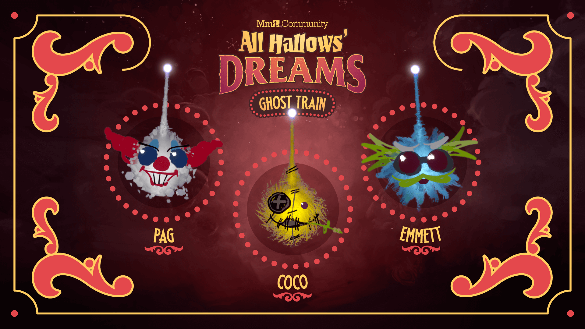 The new clown imp, scientist imp and scarecrow imp available to unlock in All Hallows' Dream: Ghost Train.