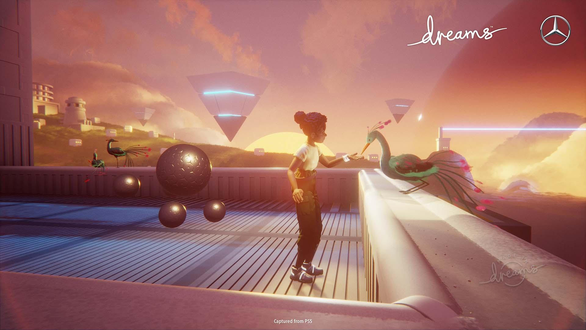 Une capture d'écran d'Eshe, le personnage principal de la collaboration Dreams et Mercedes-Benz, qui rencontre un oiseau.