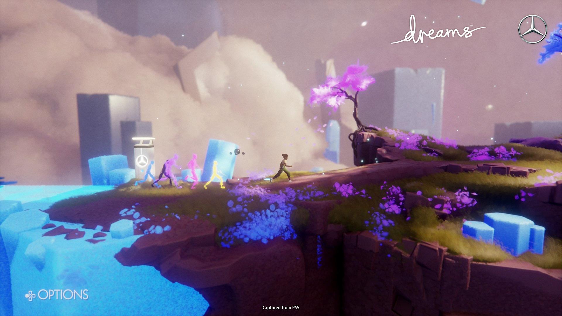 Une capture d'écran d'Eshe, le personnage principal de la collaboration Dreams et Mercedes-Benz, qui marche avec des personnages derrière elle.