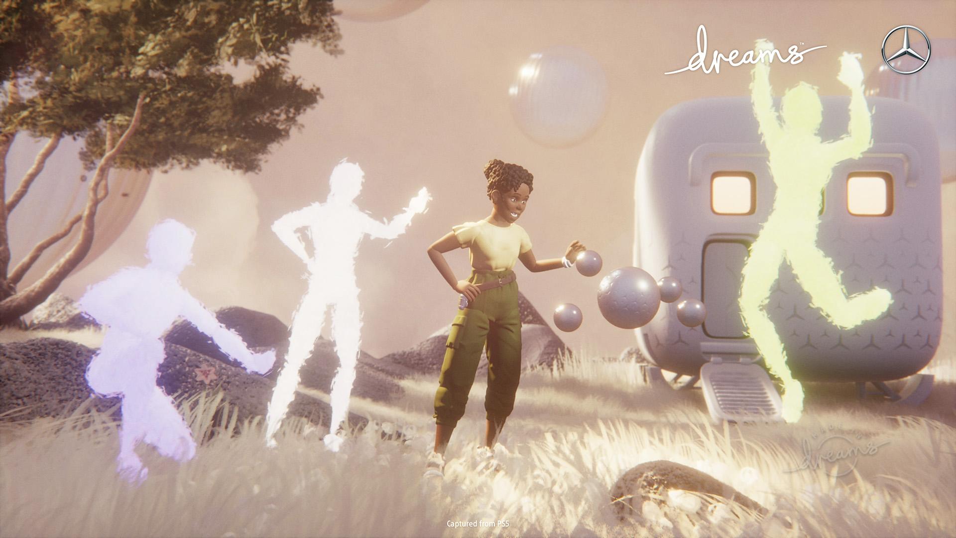 Une capture d'écran d'Eshe, le personnage principal de la collaboration Dreams et Mercedes-Benz, qui fait la fête avec d'autres personnages.