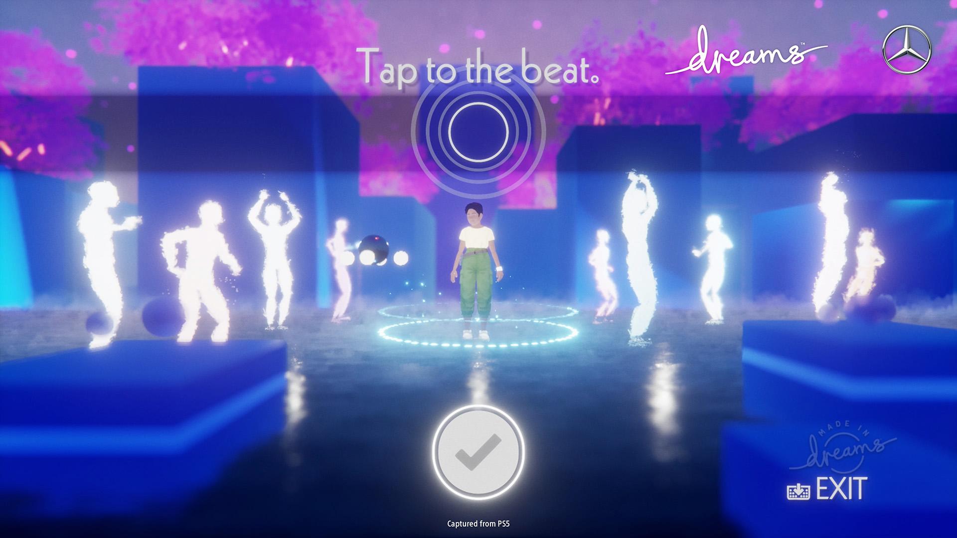 Une capture d'écran du jeu de rythme de la collaboration Dreams et Mercedes-Benz.