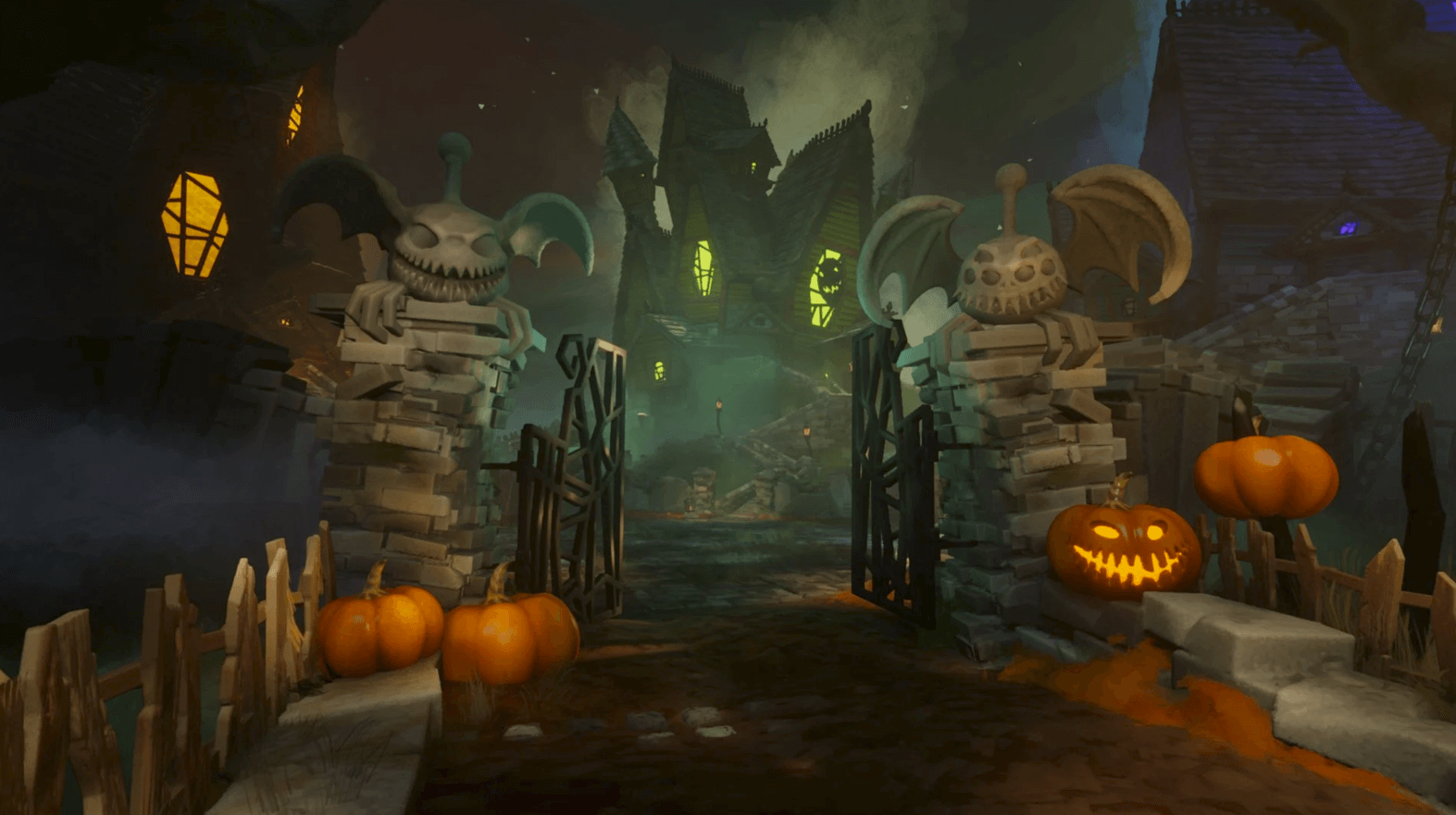 A screenshot of All Hallows' Dreams 2020. A pumpkin-lined path leads up to spooky haunted houses.