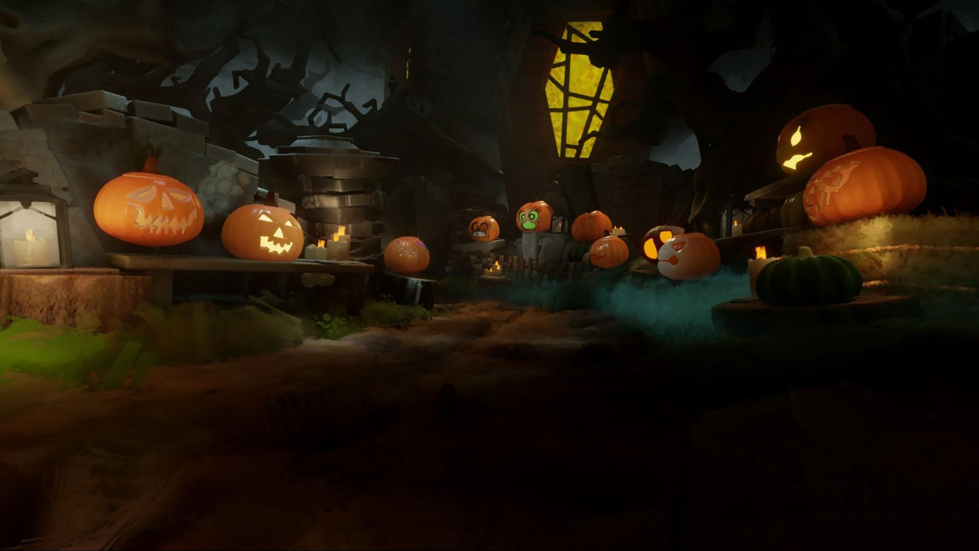 A screenshot of the pumpkin patch from All Hallows' Dreams 2020.