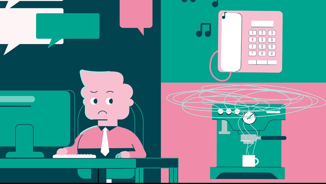 Um ambiente de escritório barulhento a causar ansiedade a alguém