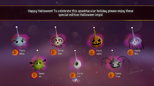 A screenshot of last year's All Hallows' Dreams imps: a vampire, a skull, a pumpkin, a ghost, a Frankenstein's monster, an eyeball and a bat.