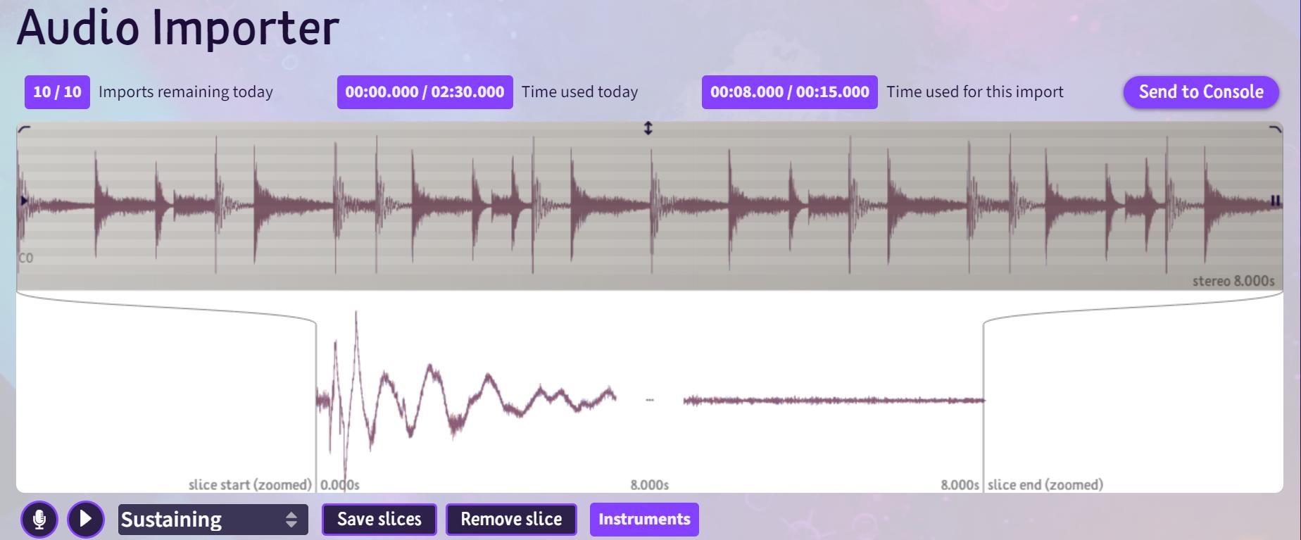 L'importateur audio dans indreams_**.**_