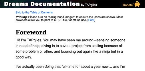 Dreams Documentation by TAPgiles